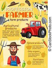 granja, agricultura, profesión, agronomist, granjero