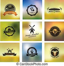 granja, alimento, vector, iconos, etiquetas, y, insignias