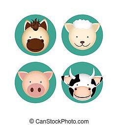granja, animales, diseño