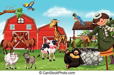 granja, animales salvajes, corral