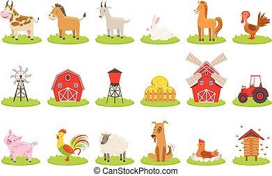 granja, asociado, conjunto, animales, objetos