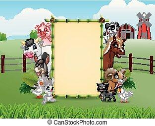 granja, bambú, blanco, animales, señal