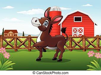 granja, burro, caricatura, feliz
