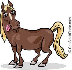 granja, caballo, caricatura, ilustración, animal