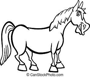 granja, caballo, caricatura, para, libro colorear