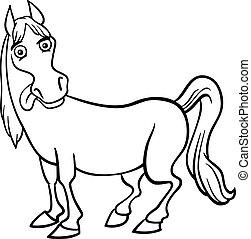 granja, caballo, libro colorear, caricatura