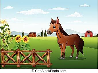 granja, caballo marrón, caricatura