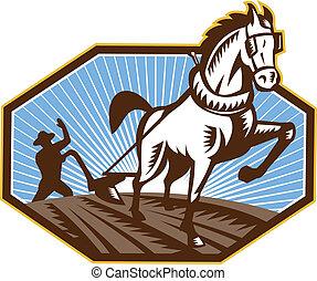 granja, caballo, retro, arada, granjero