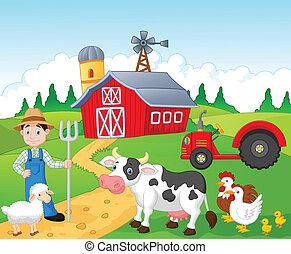 granja, caricatura, trabajando, granjero
