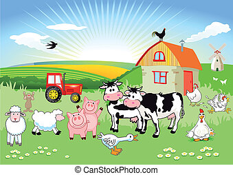 granja, cartón, animales