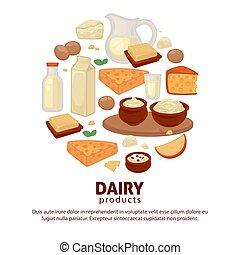 granja, cartel, alimento, vector, productos, lechería, leche