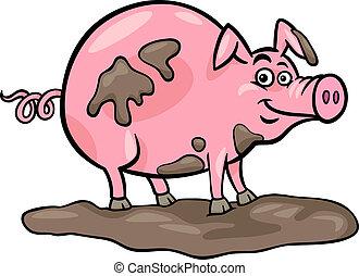granja, cerdo, caricatura, ilustración, animal