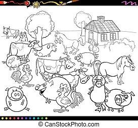 granja, colorido, animales, caricatura