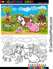 granja, colorido, animales, ganado