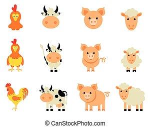 granja, Conjunto, aislado,  vector, animales