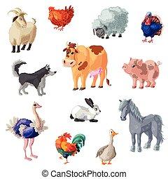 granja, conjunto, animales, caricatura