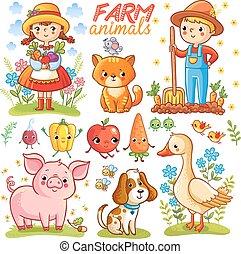 granja, conjunto, caricatura, animals.