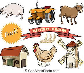 granja, conjunto, retro, vector, iconos