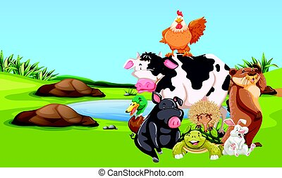 granja, corral, animales