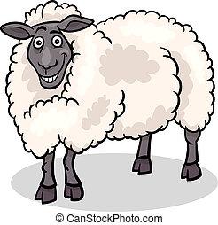 granja de las ovejas, caricatura, ilustración, animal