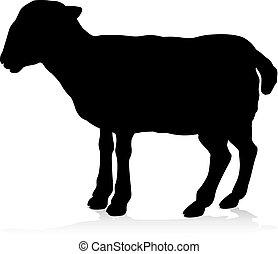 granja de las ovejas, silueta, animal