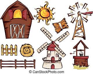 granja, elementos, ilustración