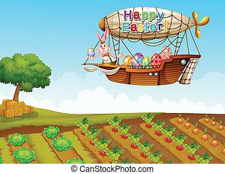 granja, encima, paso, dirigible
