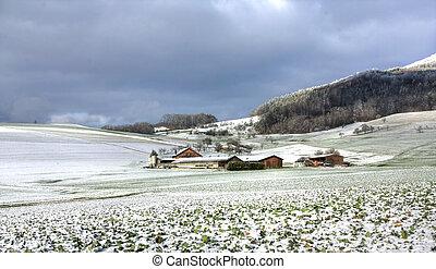 granja, escena, (hdr), invierno
