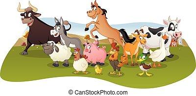 granja, fondo., grupo, caricatura, animals.