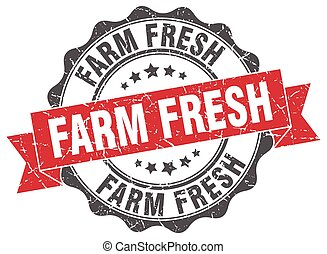 granja, fresco, señal, estampilla, sello