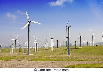 granja, generadores, viento