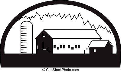 granja, granero, casa, silo, negro y blanco