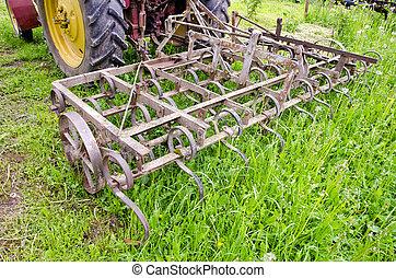 granja, gras, metal, campo, harrow, tractor