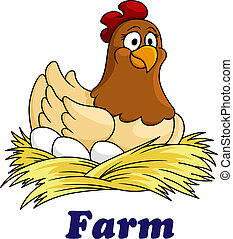 granja, huevos, emblema, gallina, sentado