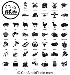 granja, iconos, conjunto