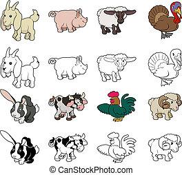 granja, ilustraciones, caricatura, animal