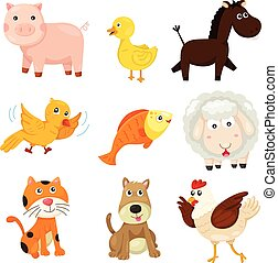 granja, ilustrador, animal