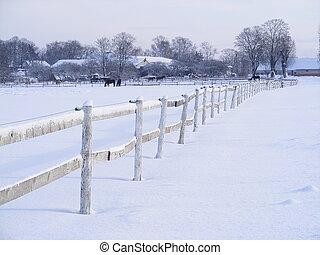 granja, invierno, cerca