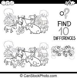 granja, juego, colorido, animales