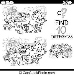 granja, juego, diferencia, animales