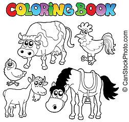 granja, libro colorear, caricaturas