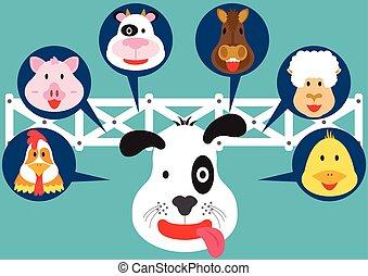 granja, lindo, caricatura, animal, plano