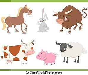 granja, lindo, conjunto, animales, caricatura