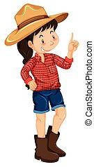 granja, llevando, niña, camisa, rojo
