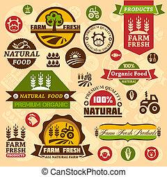 granja, logotipo, etiquetas, y, diseños