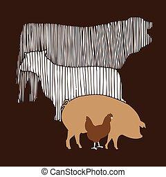 granja, marrón, vector, grupo, animal