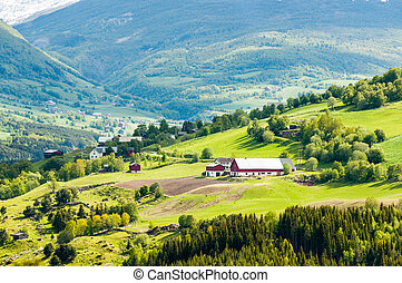 granja, montaña, noruega, aldea