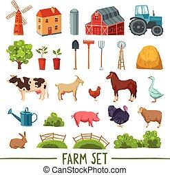 granja, multicolor, icono, conjunto