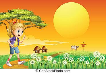 granja, niña, yendo
