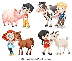 granja, niñas, animales, niños